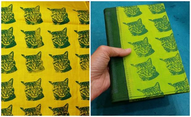 Cat fabric and handmade book.