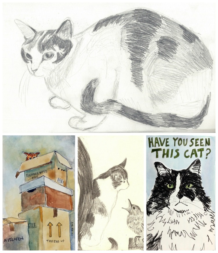 Collage of cat drawings