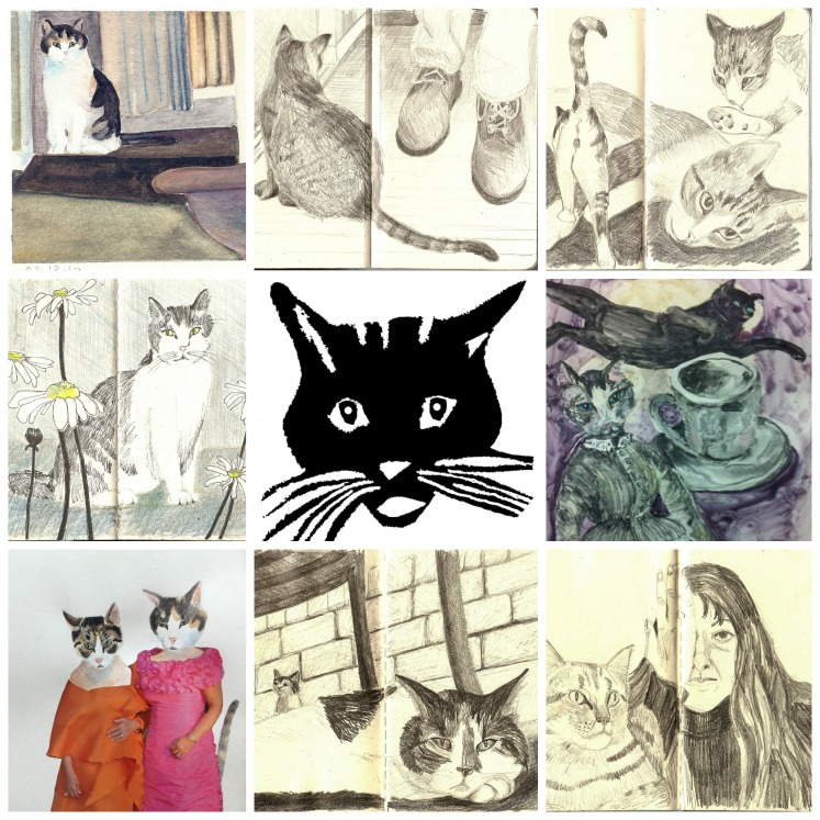 Collage of cat art