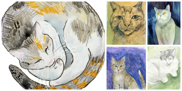 Watercolor sketches of cats