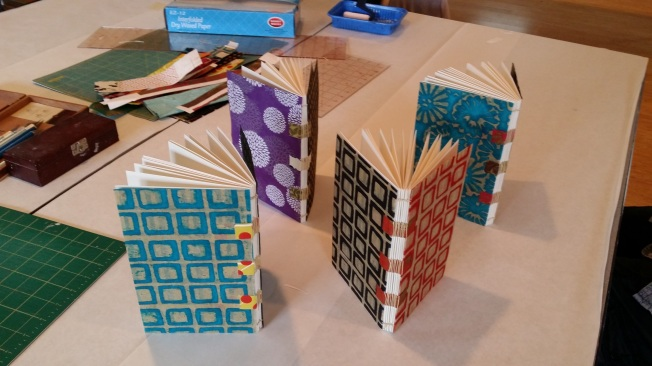 Beautiful books made by adult students in my bookmaking class.