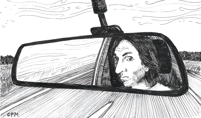 Ink drawing of face in rearview mirror.