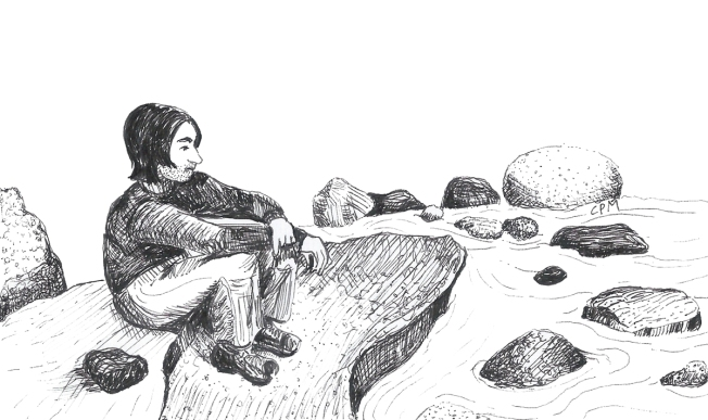 Pen and ink drawing of man on a rock by a stream.
