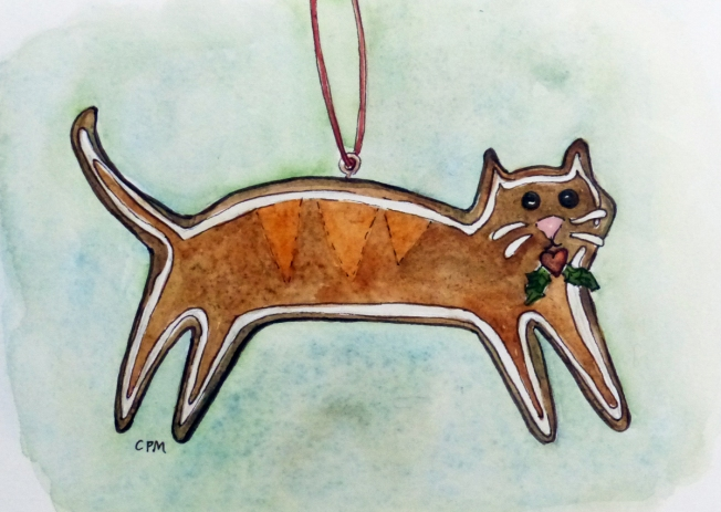Watercolor painting of a cat ornament. Carol Parker Mittal