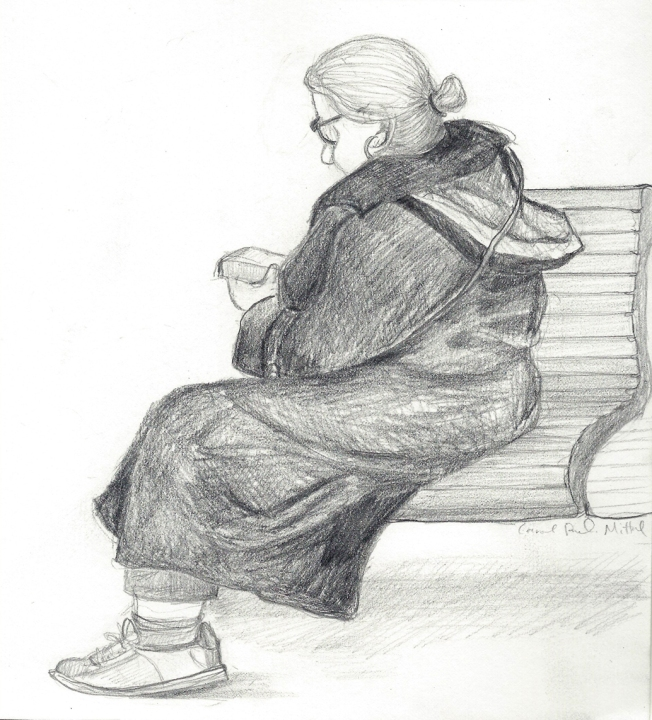 Pencil drawing. Woman on Bench.